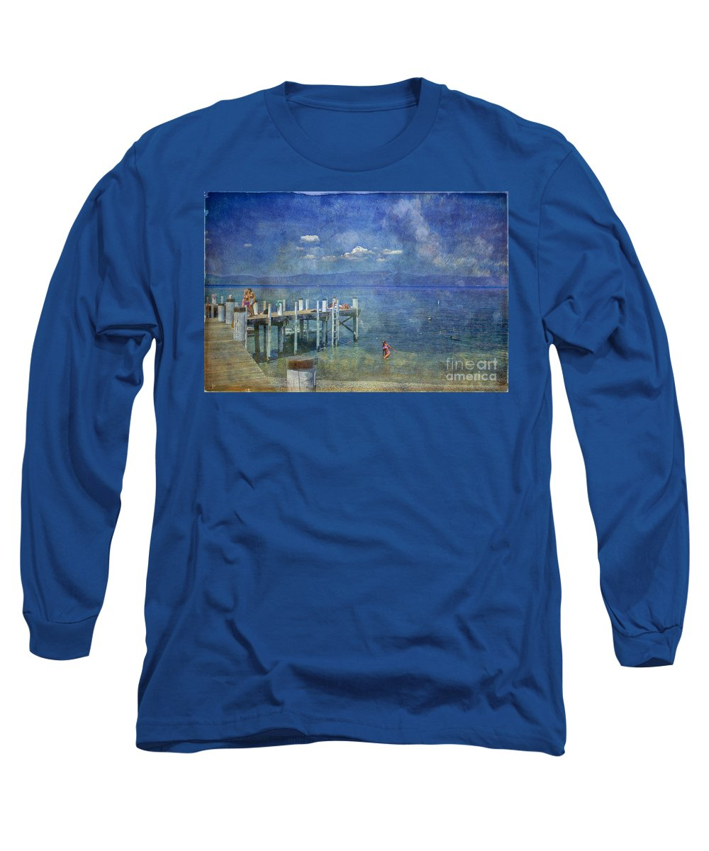 Chambers Landing Lake Tahoe Ca Long Sleeve T-Shirt featuring the photograph Wish You Were Here Chambers Landing Lake Tahoe Ca by David Zanzinger
