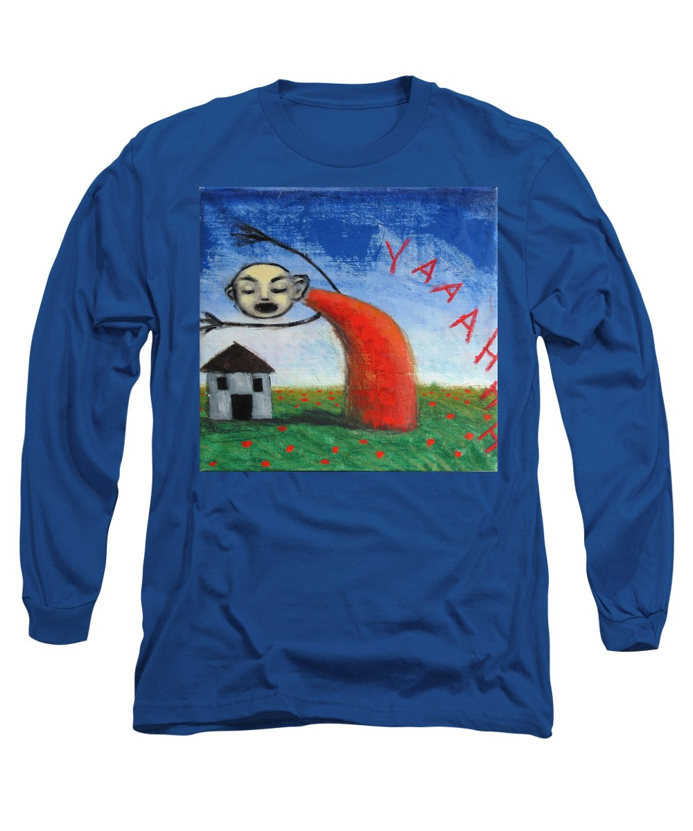 Figure Long Sleeve T-Shirt featuring the painting Yaaahhh by Pauline Lim