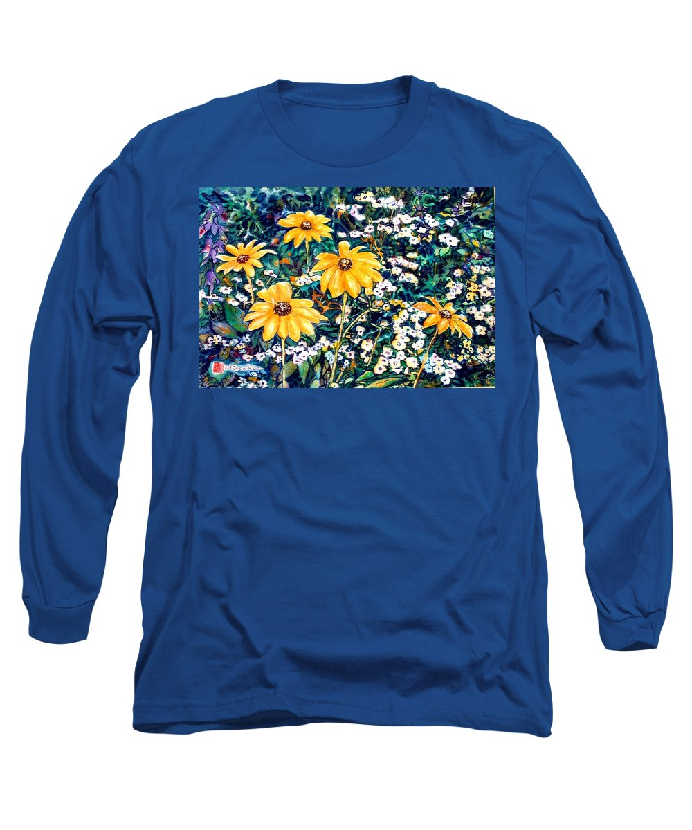 Daisies Long Sleeve T-Shirt featuring the painting Yellow Daisies by Norma Boeckler