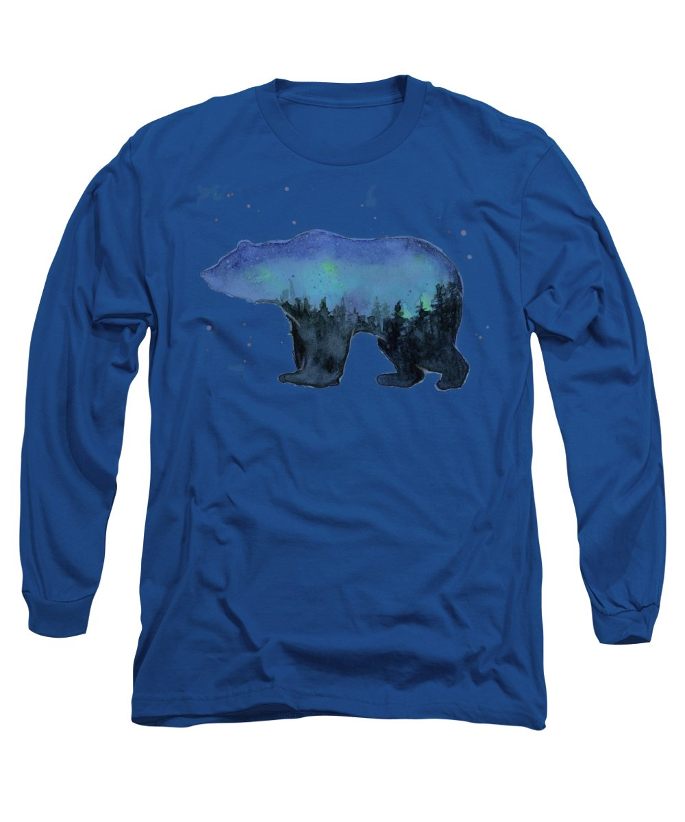 Galaxy Long Sleeve T-Shirt featuring the painting Forest Bear Watercolor Galaxy by Olga Shvartsur
