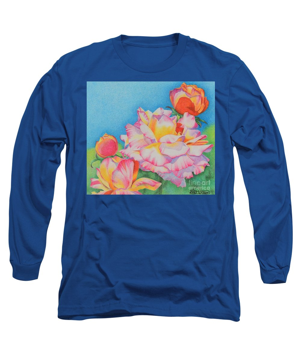 Peony Long Sleeve T-Shirt featuring the drawing Peonies by Sharon Patterson