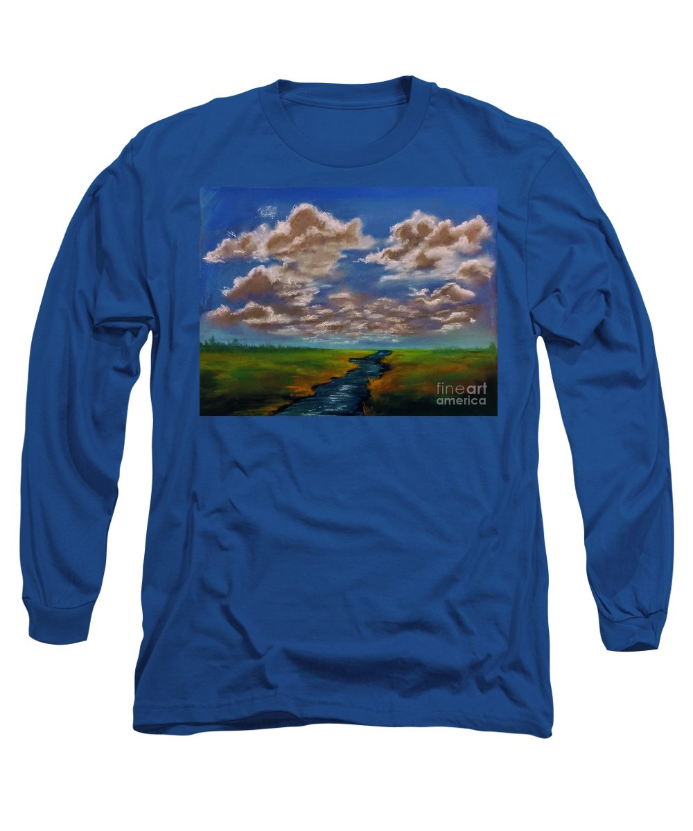 Long Sleeve T-Shirt featuring the painting River To Nowhere by Angela Armano