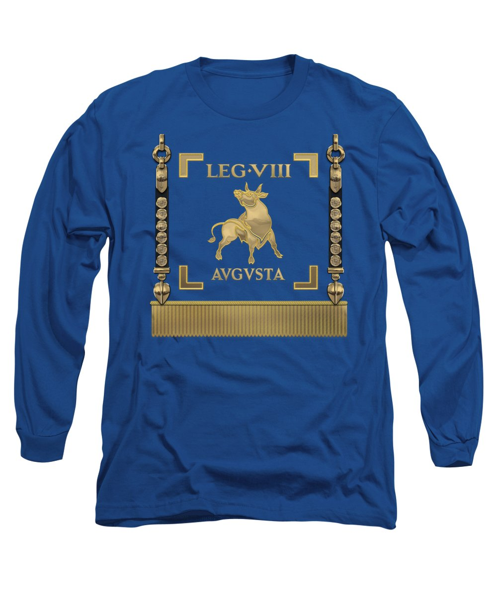 'rome' Collection By Serge Averbukh Long Sleeve T-Shirt featuring the digital art Standard Of The Augustus' Eighth Legion - Blue Vexillum Of Legio Viii Augusta by Serge Averbukh