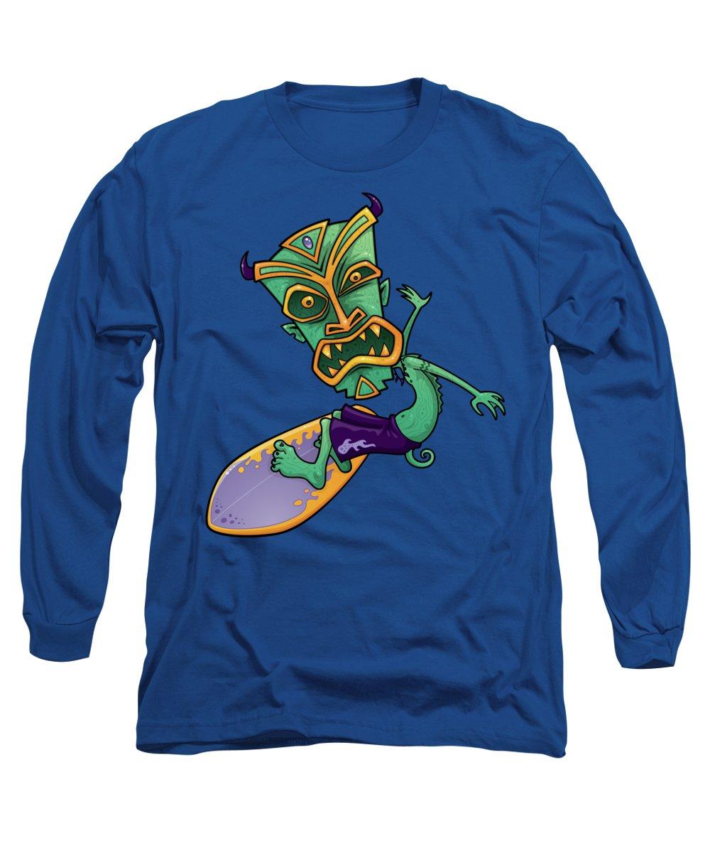 Shark Long Sleeve T-Shirt featuring the digital art Tiki Surfer by John Schwegel