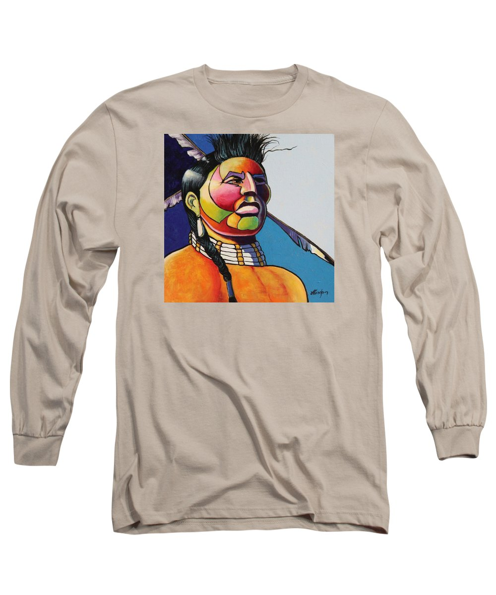Native American Long Sleeve T-Shirt featuring the painting Indian Portrait by Joe Triano