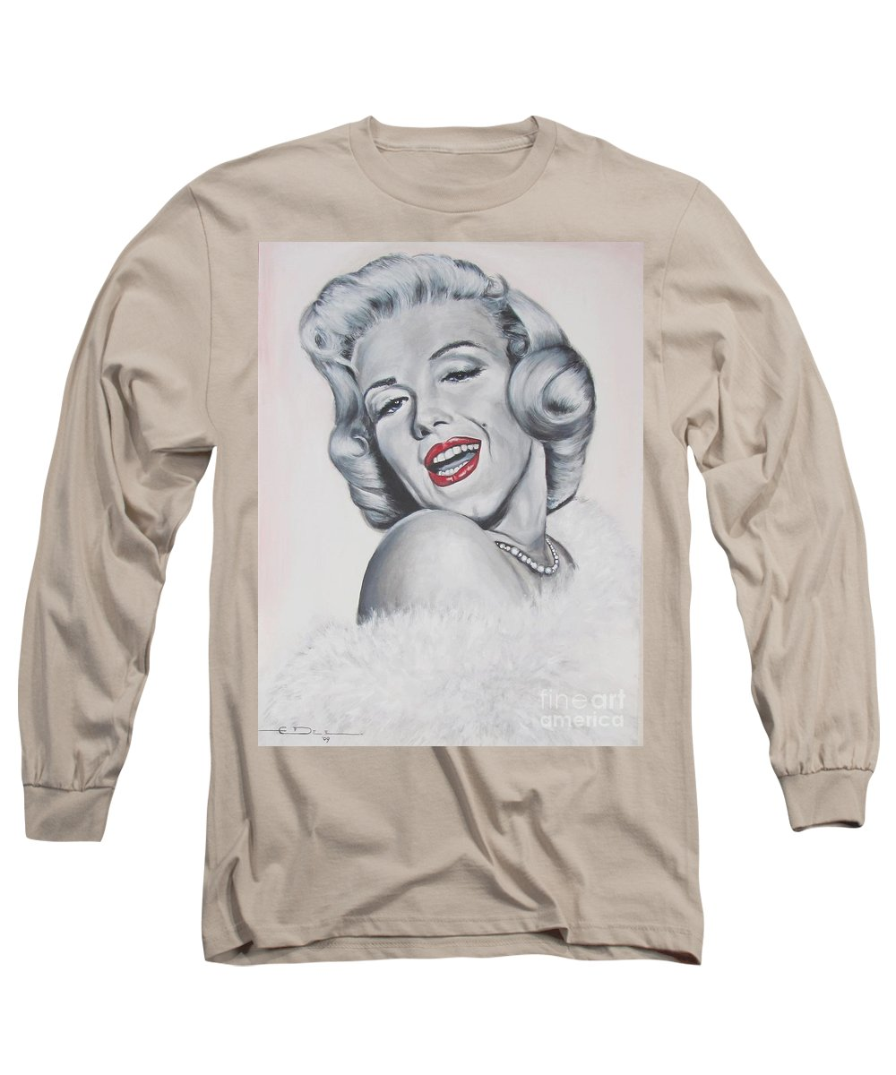 Marilyn Monroe Long Sleeve T-Shirt featuring the painting Marilyn Monroe by Eric Dee