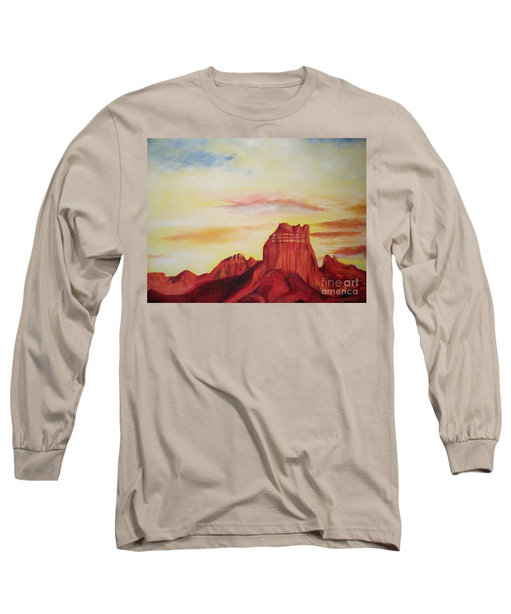 Western Long Sleeve T-Shirt featuring the painting Sedona Az by Eric Schiabor