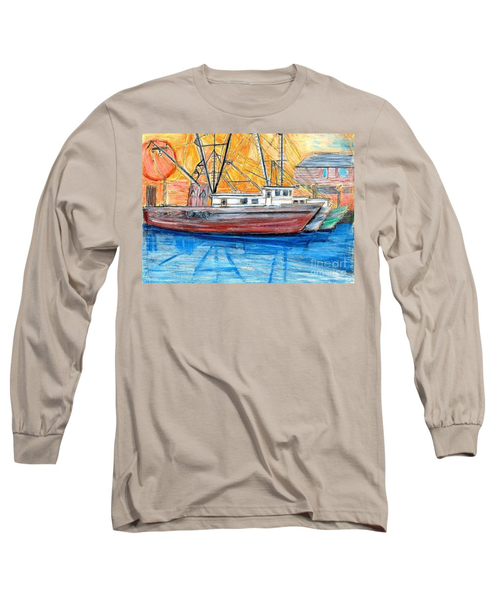Fishing Long Sleeve T-Shirt featuring the drawing Fishing Trawler by Eric Schiabor