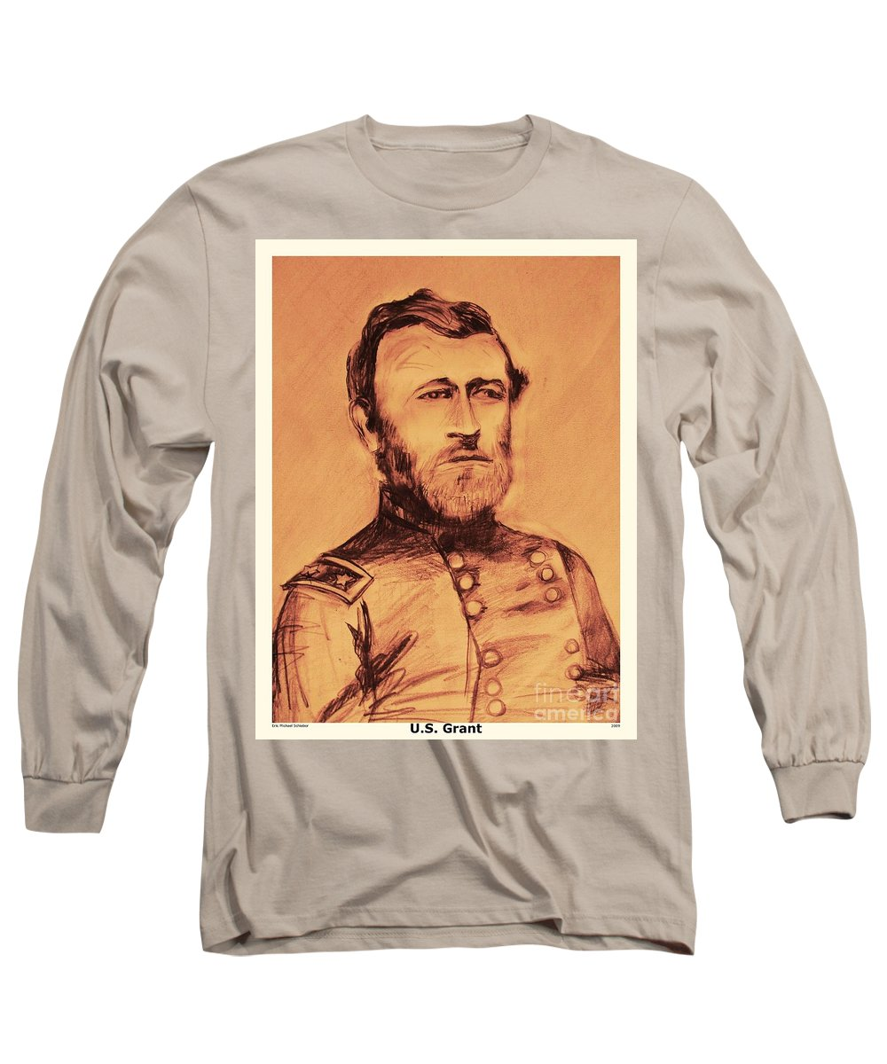 Grant Long Sleeve T-Shirt featuring the painting General Us Grant by Eric Schiabor