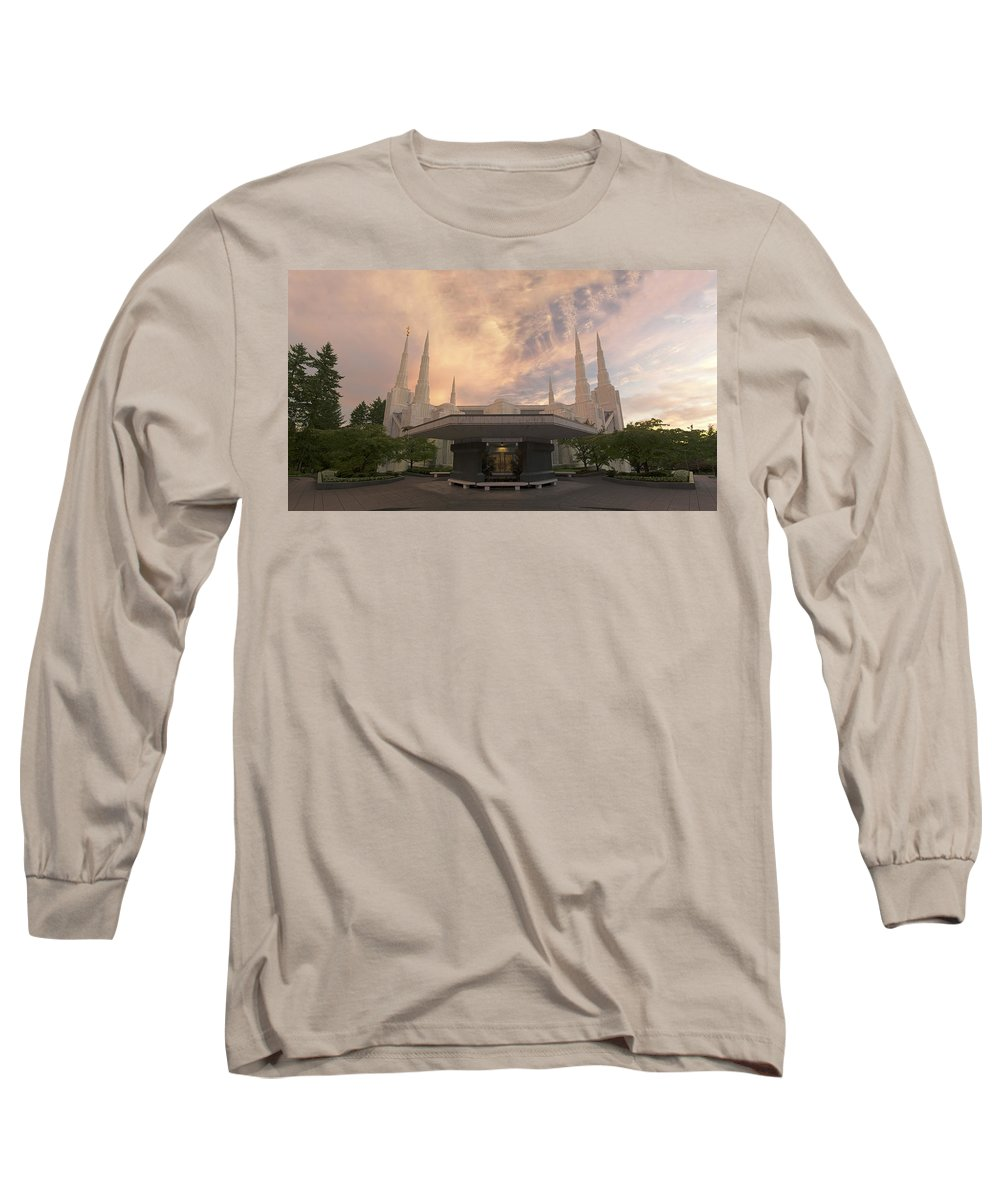Lds Long Sleeve T-Shirt featuring the photograph Portland Temple by Dustin LeFevre