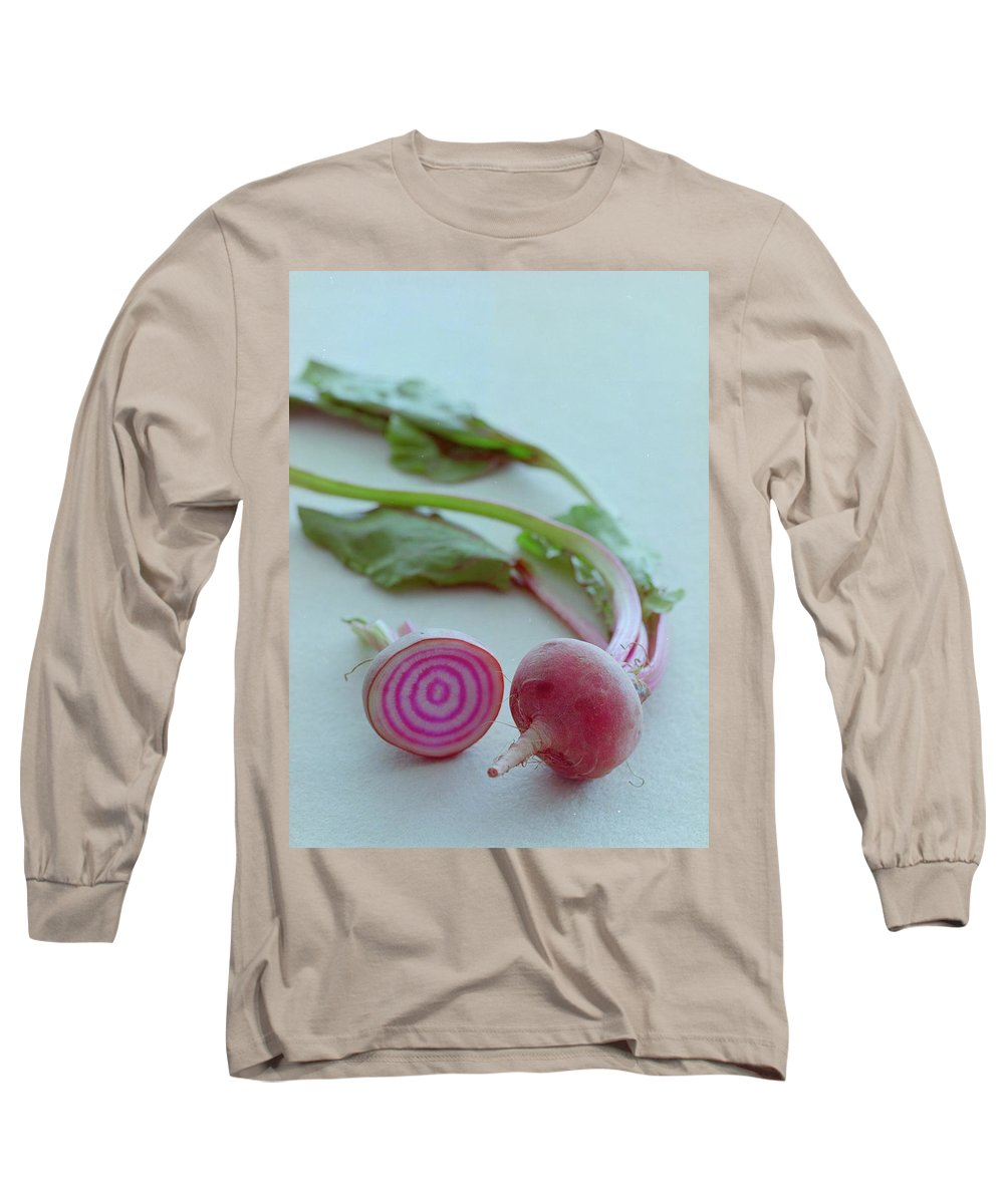 Beet Long Sleeve T-Shirt featuring the photograph Two Chioggia Beets by Romulo Yanes