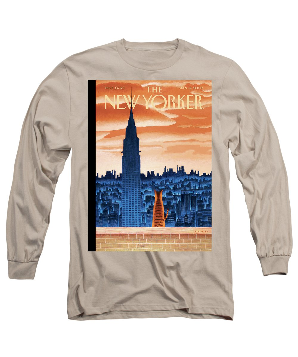 Nyc Long Sleeve T-Shirt featuring the painting The High Life by Mark Ulriksen