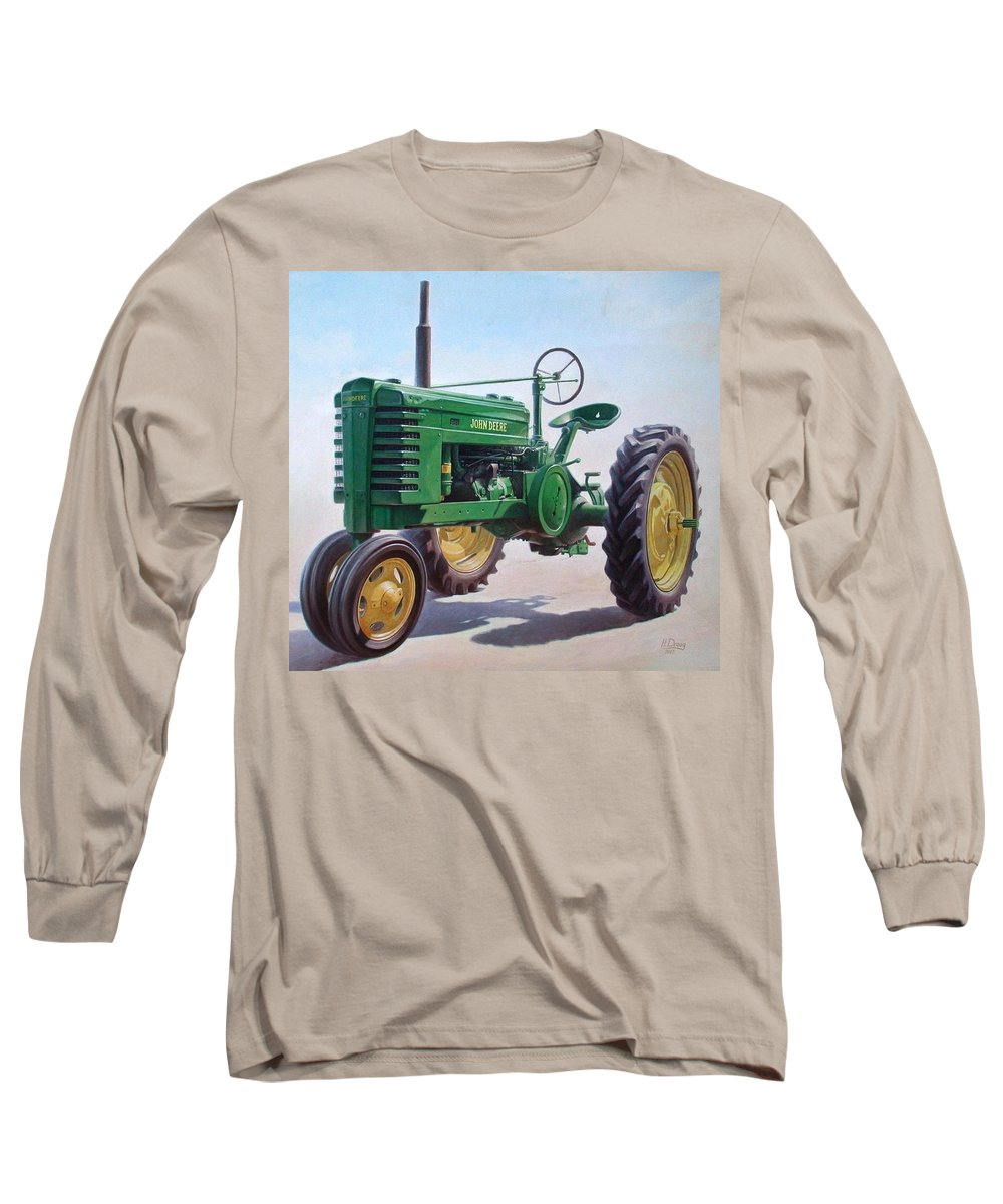Tractor Long Sleeve T-Shirt featuring the painting John Deere Tractor by Hans Droog