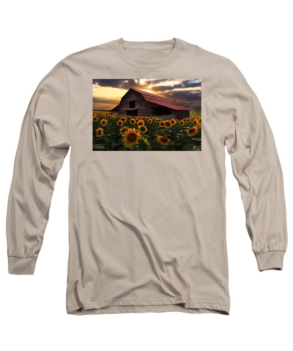 Appalachia Long Sleeve T-Shirt featuring the photograph Sunflower Farm 2 by Debra and Dave Vanderlaan