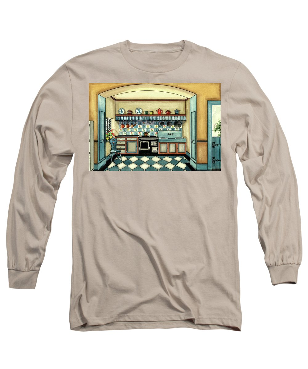 Kitchen Long Sleeve T-Shirt featuring the digital art A Blue Kitchen With A Tiled Floor by Laurence Guetthoff