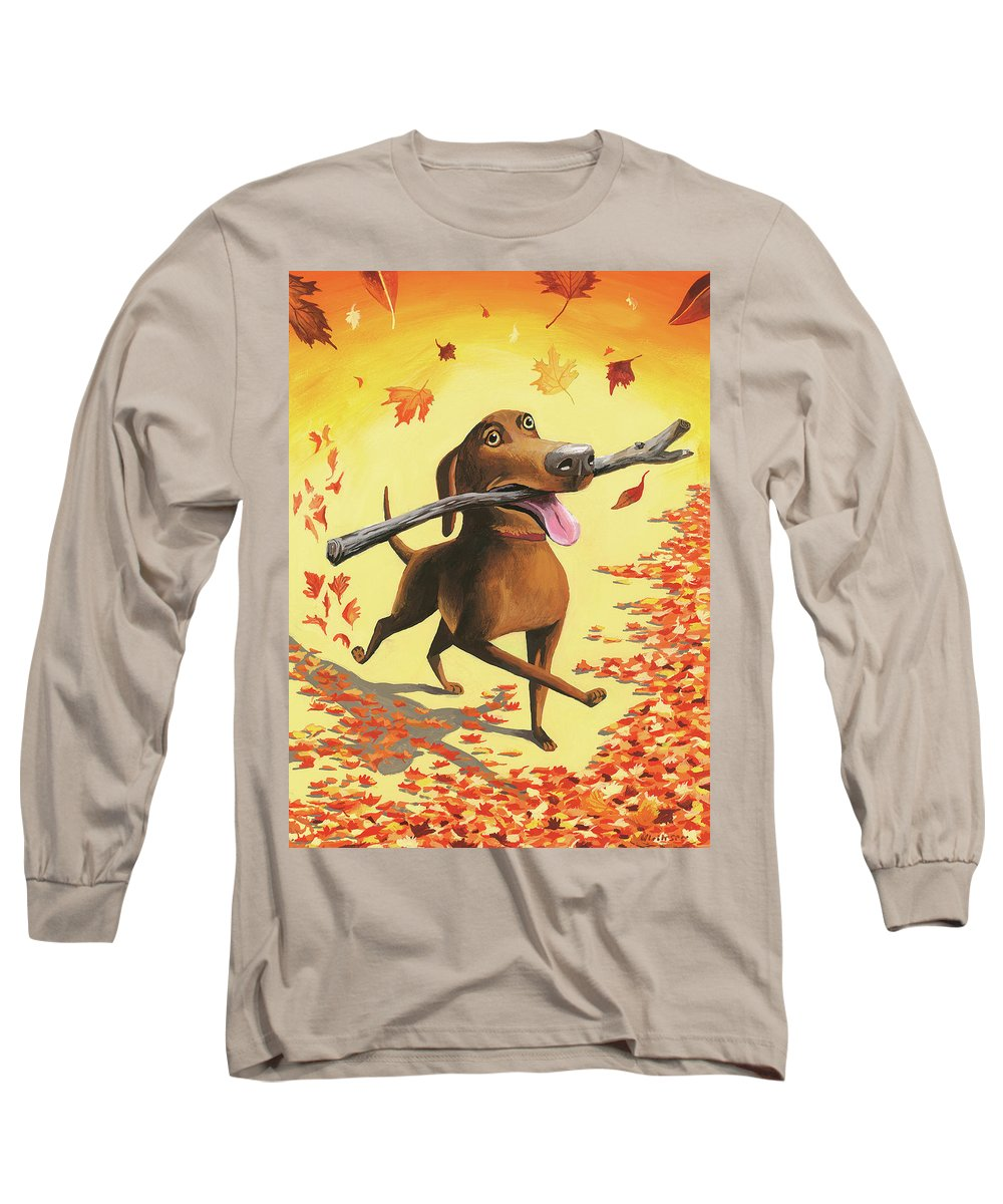 Dog Long Sleeve T-Shirt featuring the digital art A Dog Carries A Stick Through Fall Leaves by Mark Ulriksen