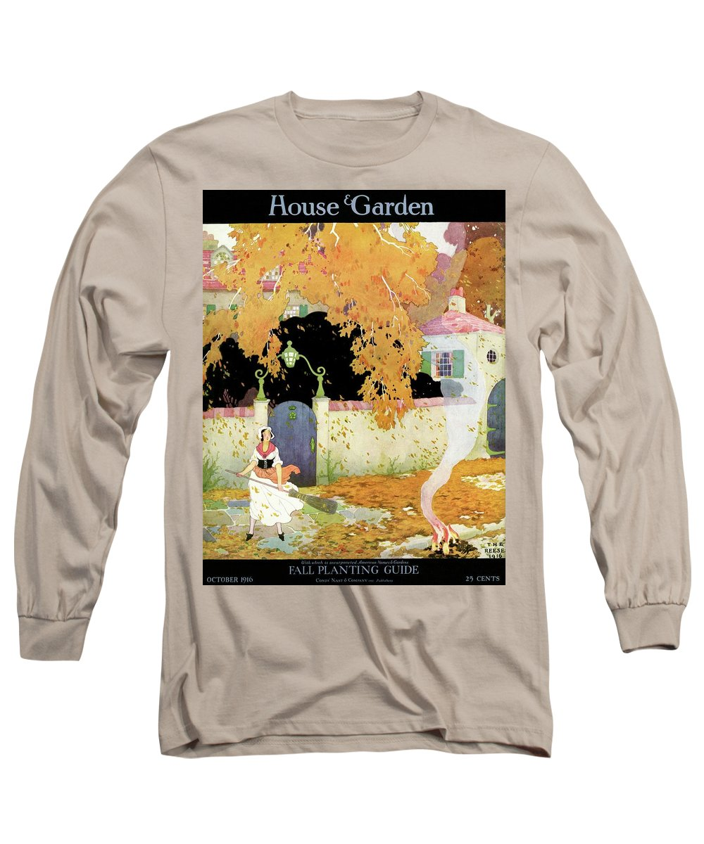 House And Garden Long Sleeve T-Shirt featuring the photograph A Girl Sweeping Leaves by The Reeses