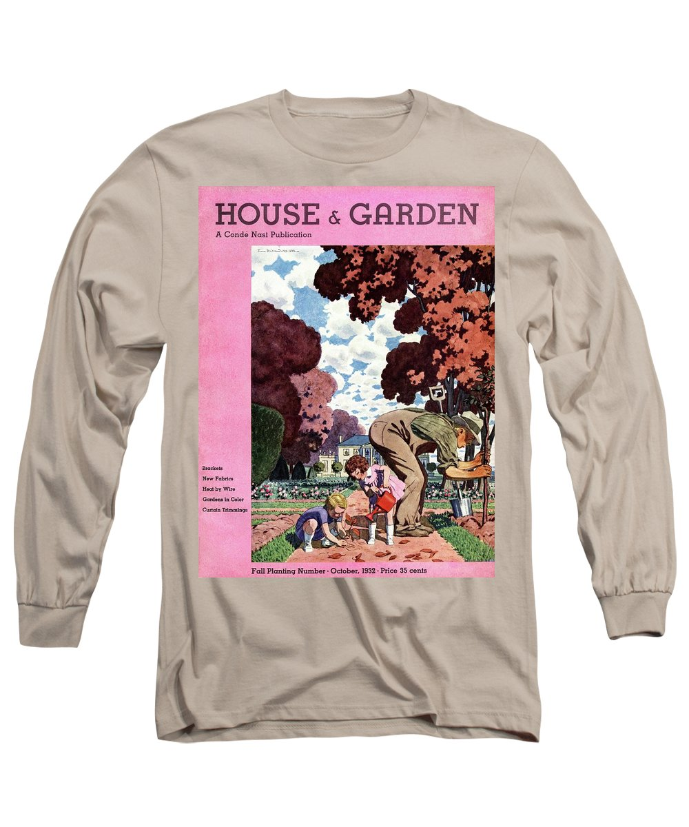 Illustration Long Sleeve T-Shirt featuring the photograph A House And Garden Cover Of People Gardening by Pierre Brissaud