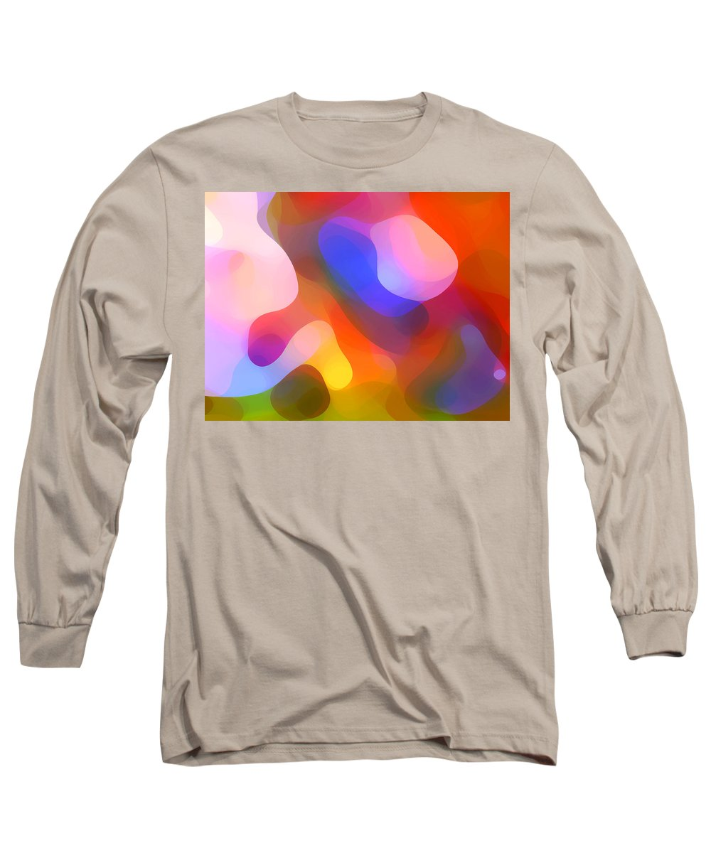 Abstract Art Long Sleeve T-Shirt featuring the painting Abstract Dappled Sunlight by Amy Vangsgard