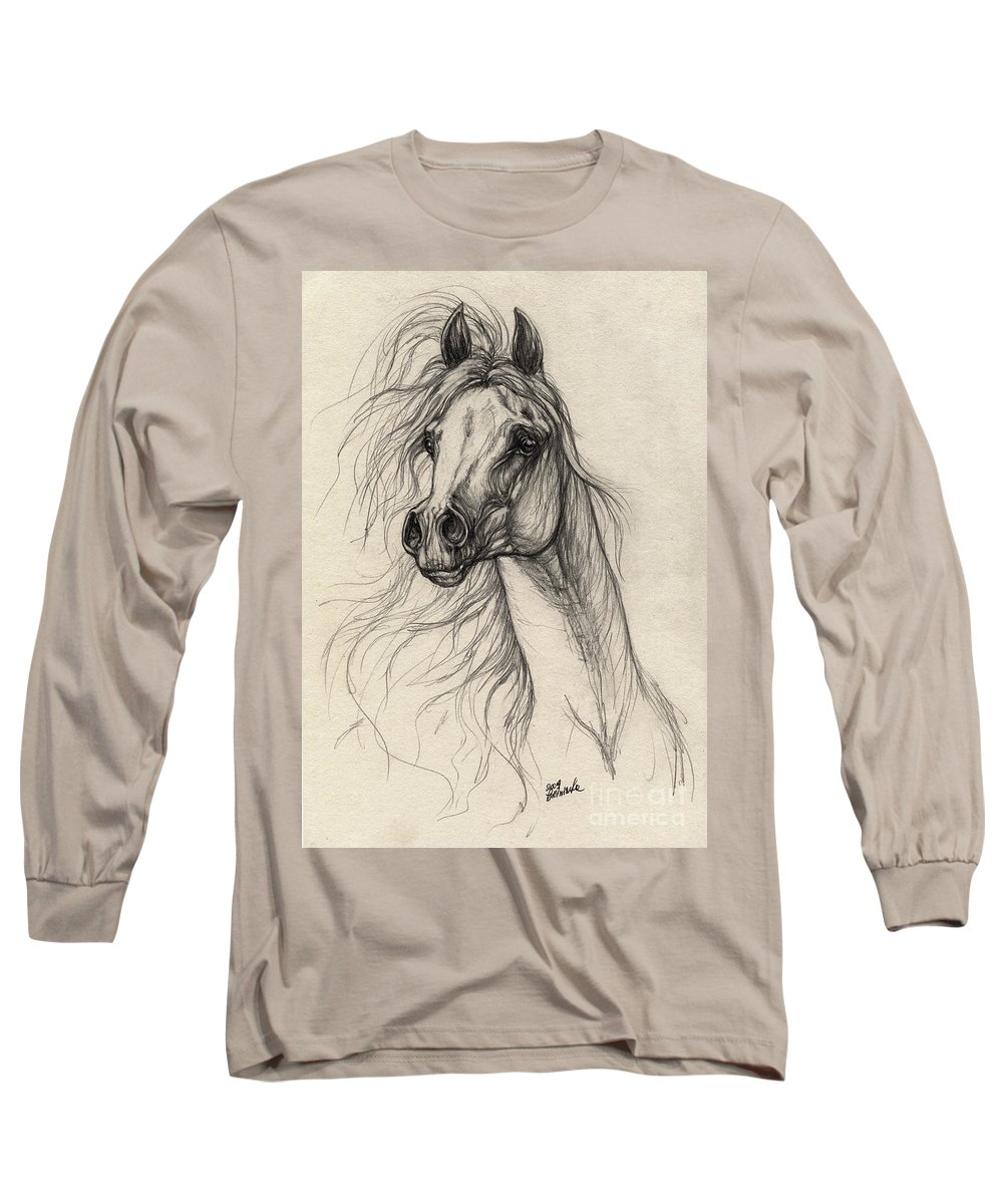 Horse Long Sleeve T-Shirt featuring the drawing Arabian Horse Drawing 37 by Angel Ciesniarska