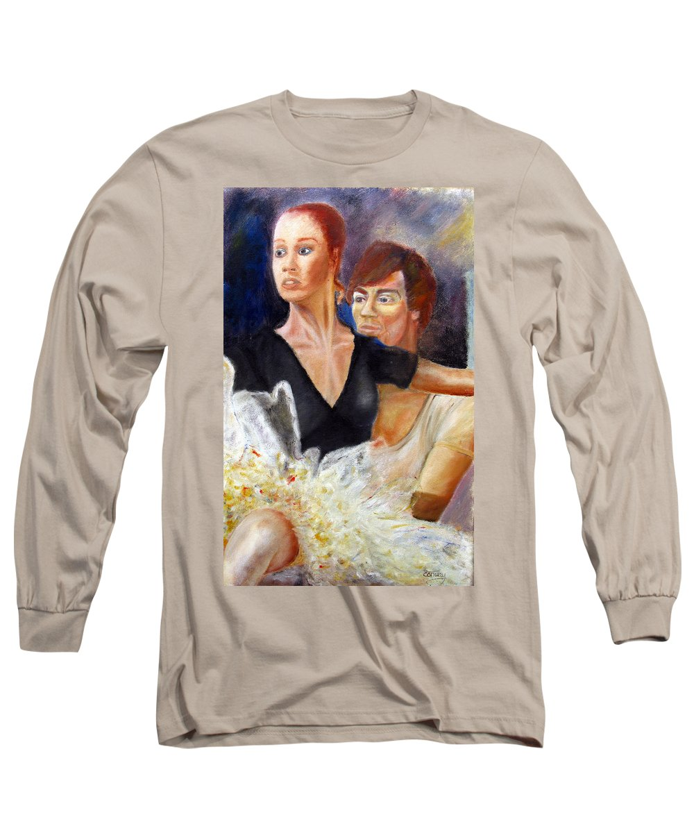 Ballet Long Sleeve T-Shirt featuring the painting Ballet Dancers Rehearse For La Bayadere by Tom Conway