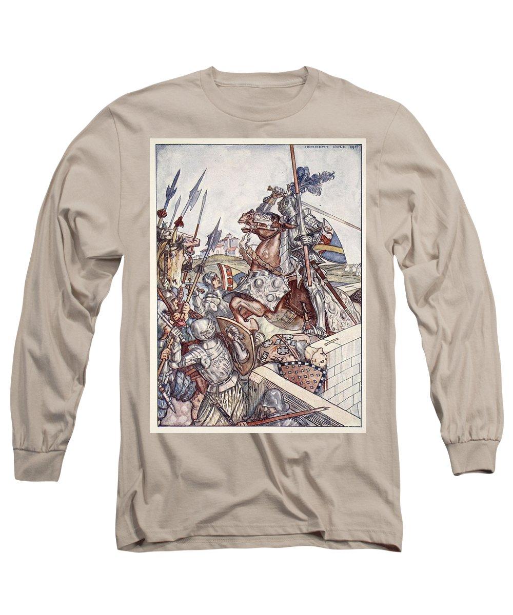 Knights Long Sleeve T-Shirt featuring the drawing Bayard Defends The Bridge, Illustration by Herbert Cole