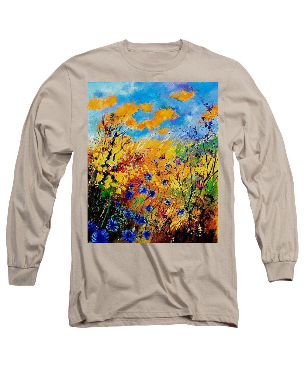 Poppies Long Sleeve T-Shirt featuring the painting Blue Cornflowers 450408 by Pol Ledent