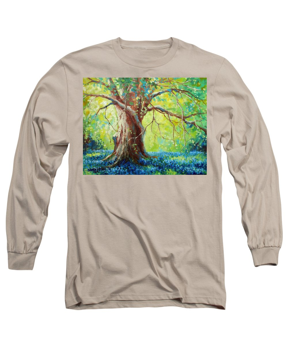 Bluebonnets Long Sleeve T-Shirt featuring the painting Bluebonnets Under The Oak by David G Paul