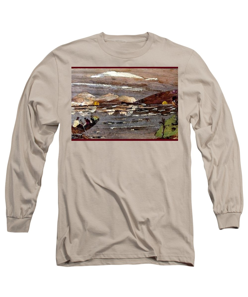Boating Scene Long Sleeve T-Shirt featuring the mixed media Boating In River by Basant Soni
