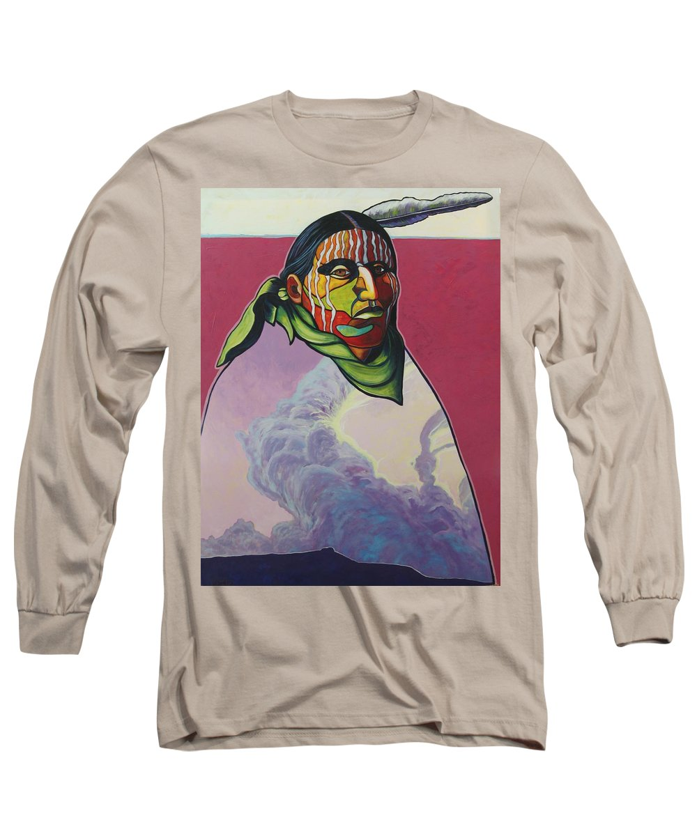 Native American Indian Long Sleeve T-Shirt featuring the painting Body And Soul by Joe Triano