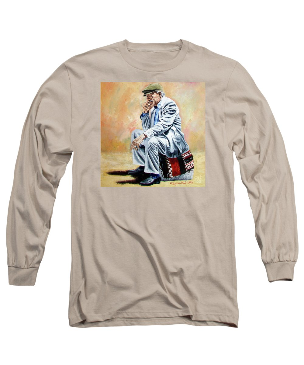 Figurative Long Sleeve T-Shirt featuring the painting Break For Smoking - Apeadero Para Fumar by Rezzan Erguvan-Onal