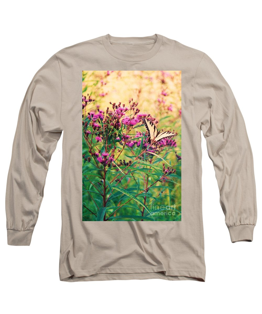 Floral Long Sleeve T-Shirt featuring the painting Butterfly Wildflower by Eric Schiabor