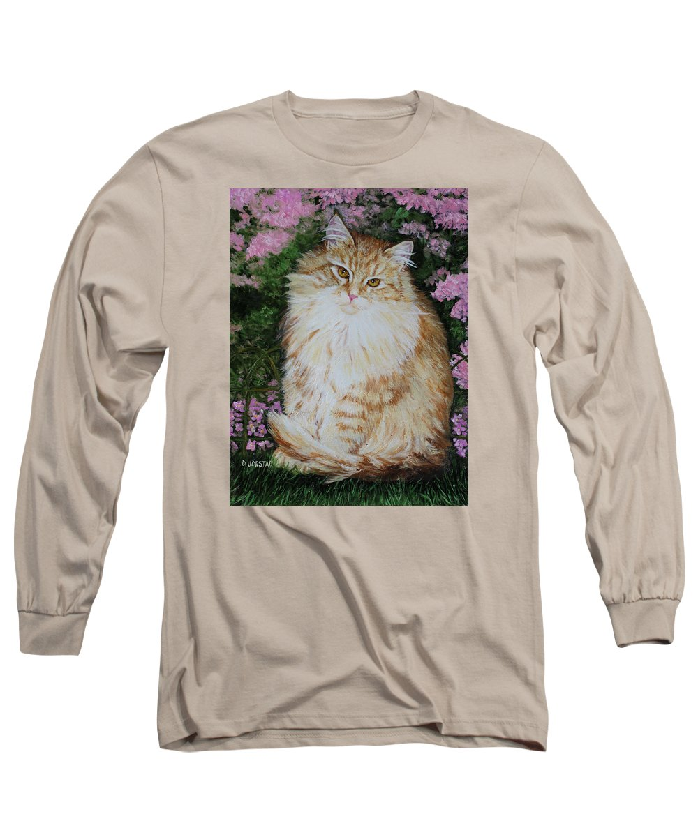 'cat Print Fine Art Long Sleeve T-Shirt featuring the painting Kitten Cat Painting Perfect For Child's Room Art by Diane Jorstad