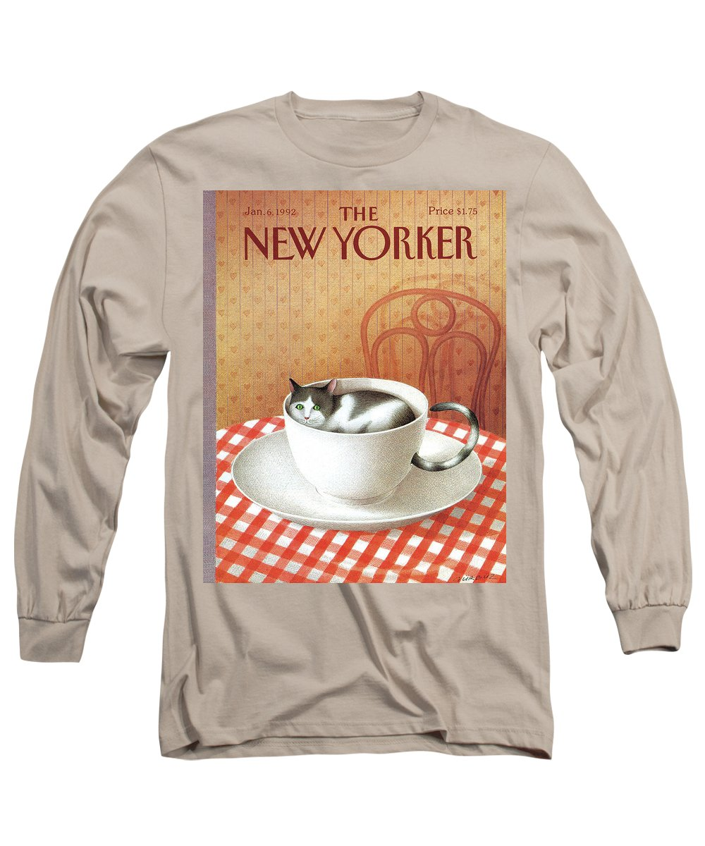 Cat Cats Pets Pet Animal Animals Cats Coffee Tea Cup Diner Chair Table Saucer Long Sleeve T-Shirt featuring the painting Cat Sits Inside A Coffee Cup by Gurbuz Dogan Eksioglu