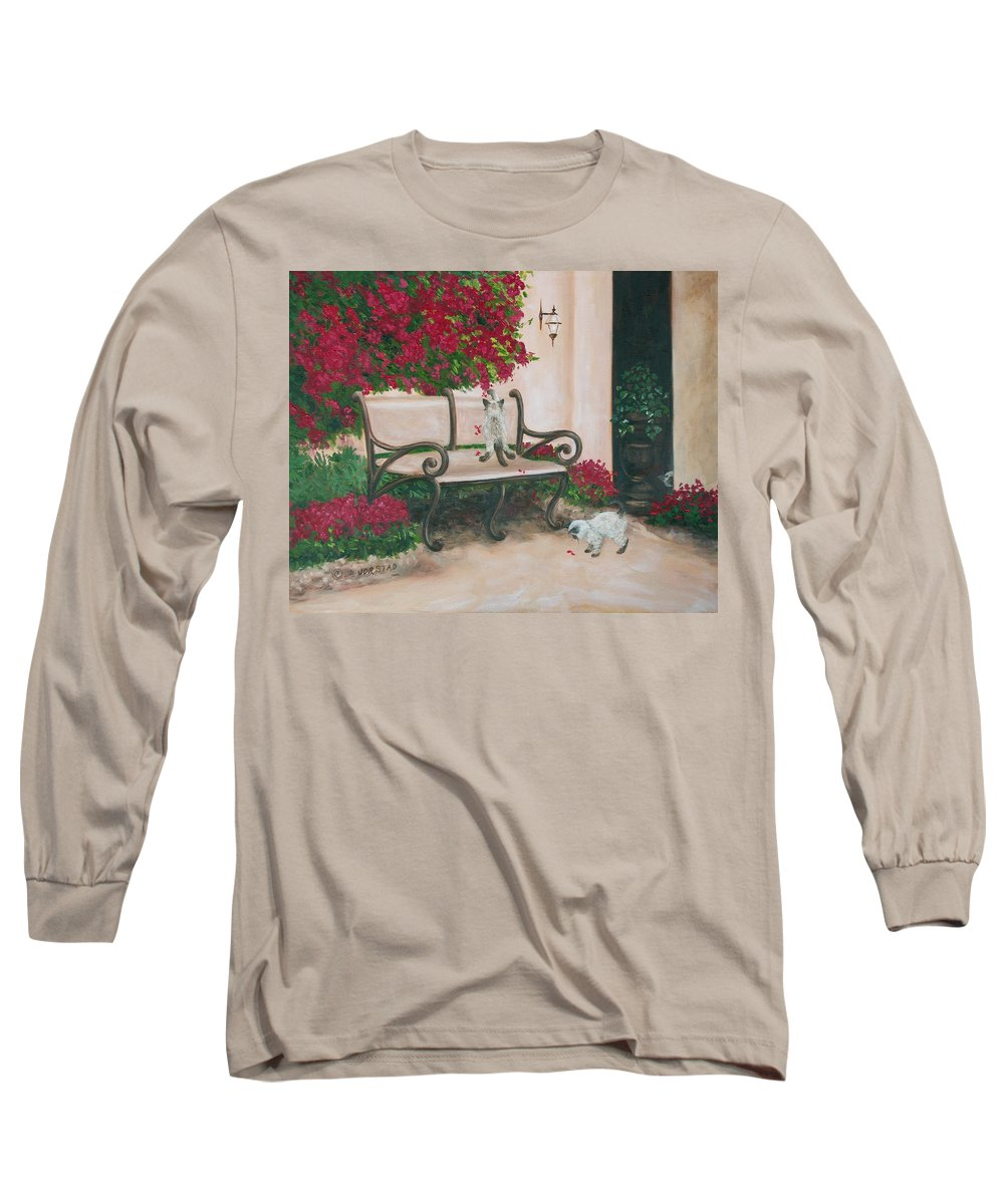 Cat Fine Art Long Sleeve T-Shirt featuring the painting Cat Art Print On Canvas Oil Painting Hire Commission Pet Portrait Artist by Diane Jorstad