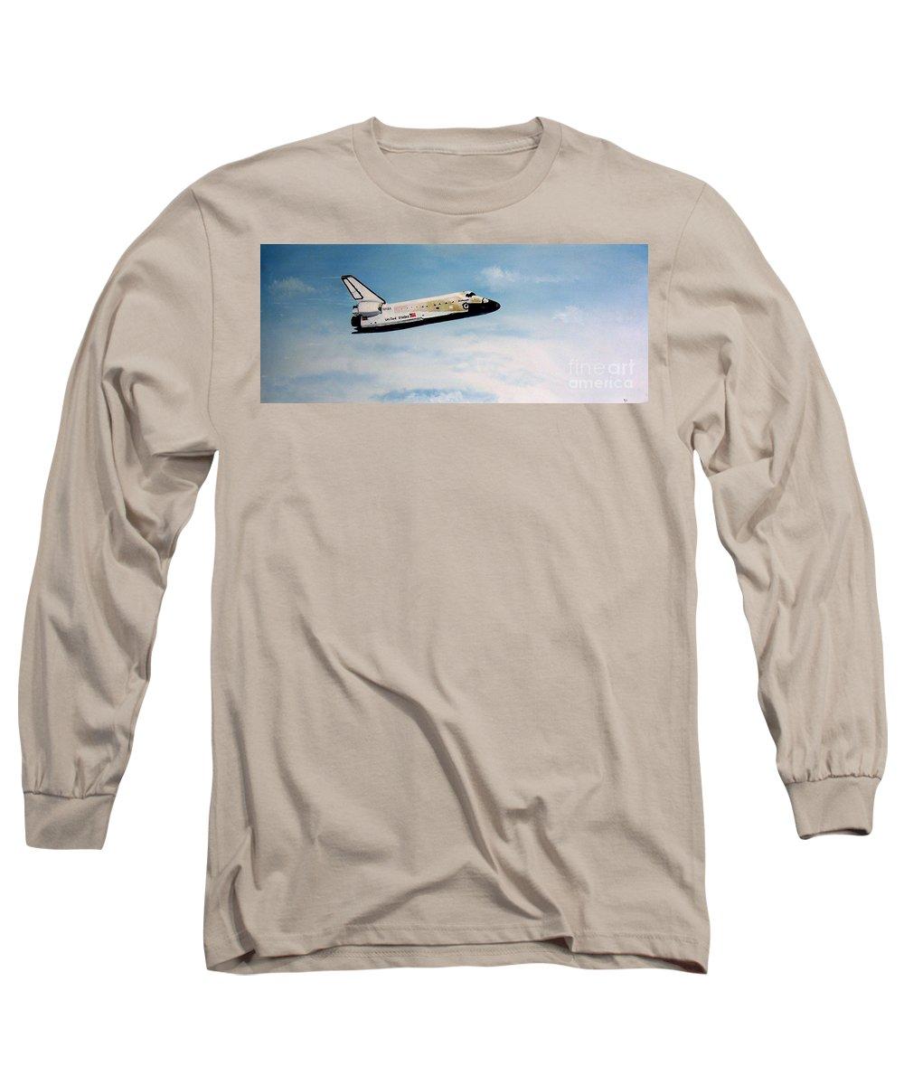 Shuttle Long Sleeve T-Shirt featuring the painting Challenger by Murphy Elliott