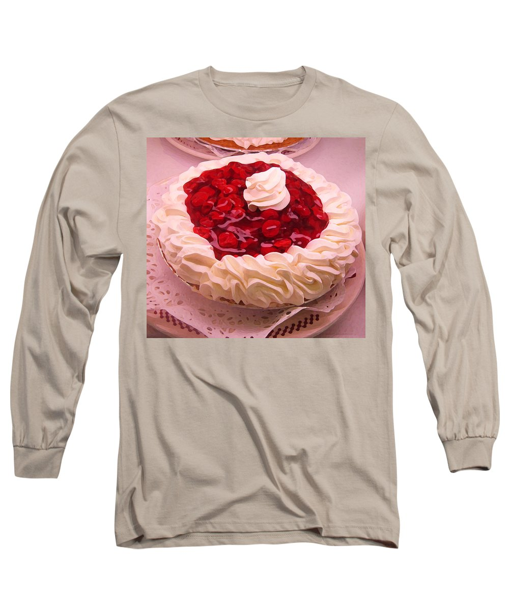 Still Life Long Sleeve T-Shirt featuring the painting Cherry Pie With Whip Cream by Amy Vangsgard