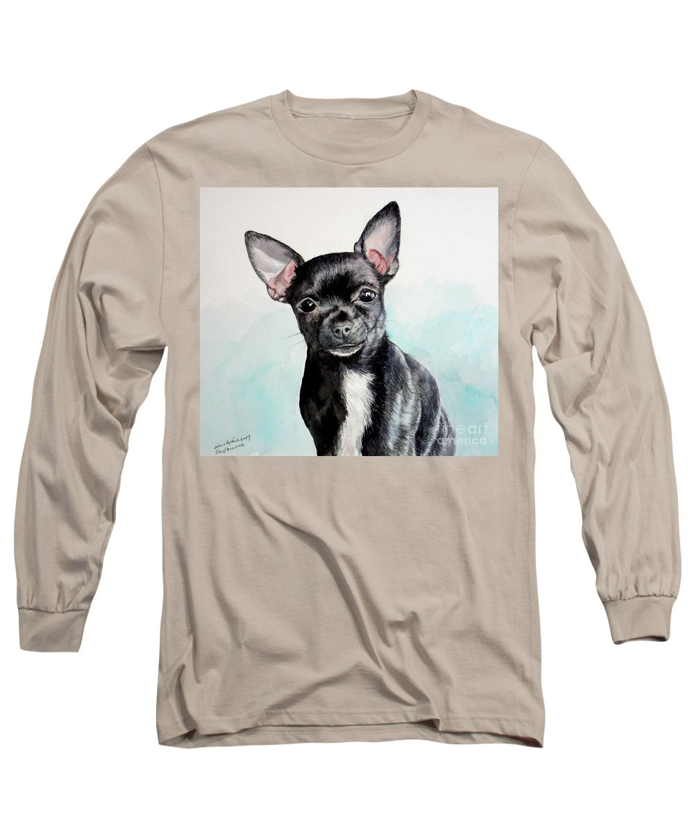 Dog Long Sleeve T-Shirt featuring the painting Chihuahua Black by Christopher Shellhammer
