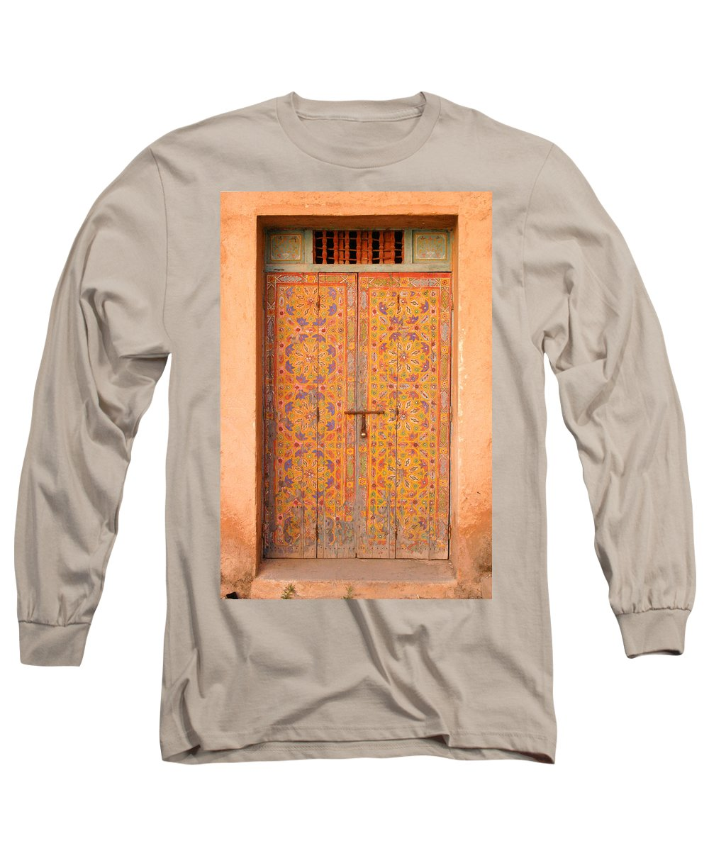 Door Long Sleeve T-Shirt featuring the photograph Colourful Entrance Door Sale Rabat Morocco by Ralph A Ledergerber-Photography