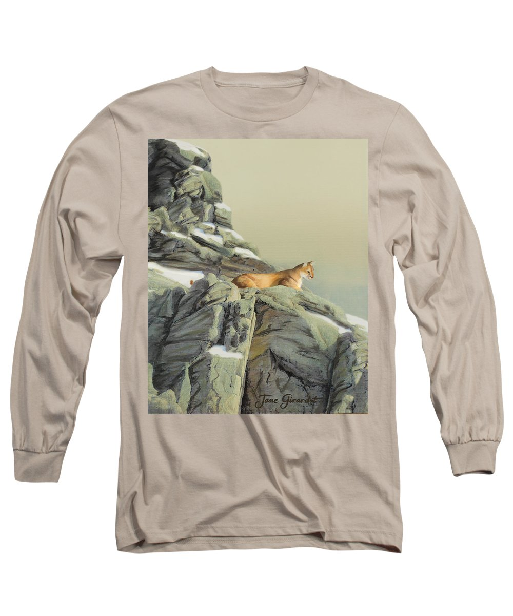 Cougar Long Sleeve T-Shirt featuring the painting Cougar Perch by Jane Girardot
