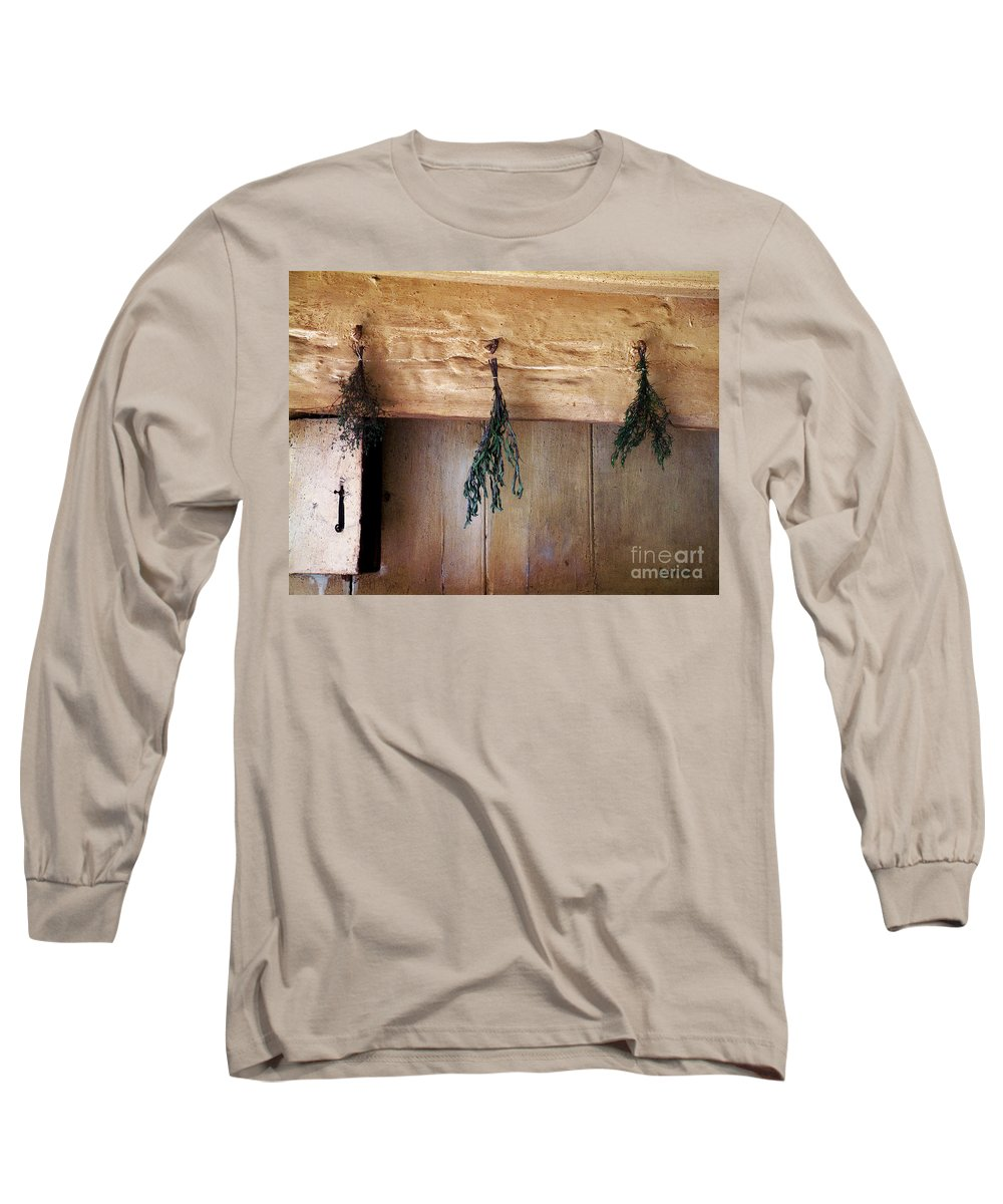 Herbs Long Sleeve T-Shirt featuring the painting Crossbeam With Herbs Drying by RC DeWinter