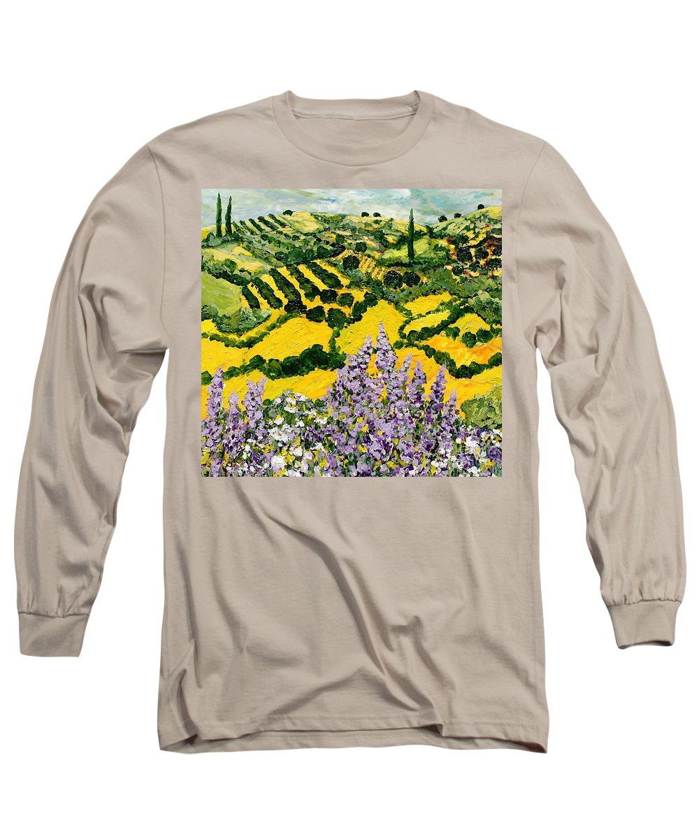 Landscape Long Sleeve T-Shirt featuring the painting Down The Hill by Allan P Friedlander