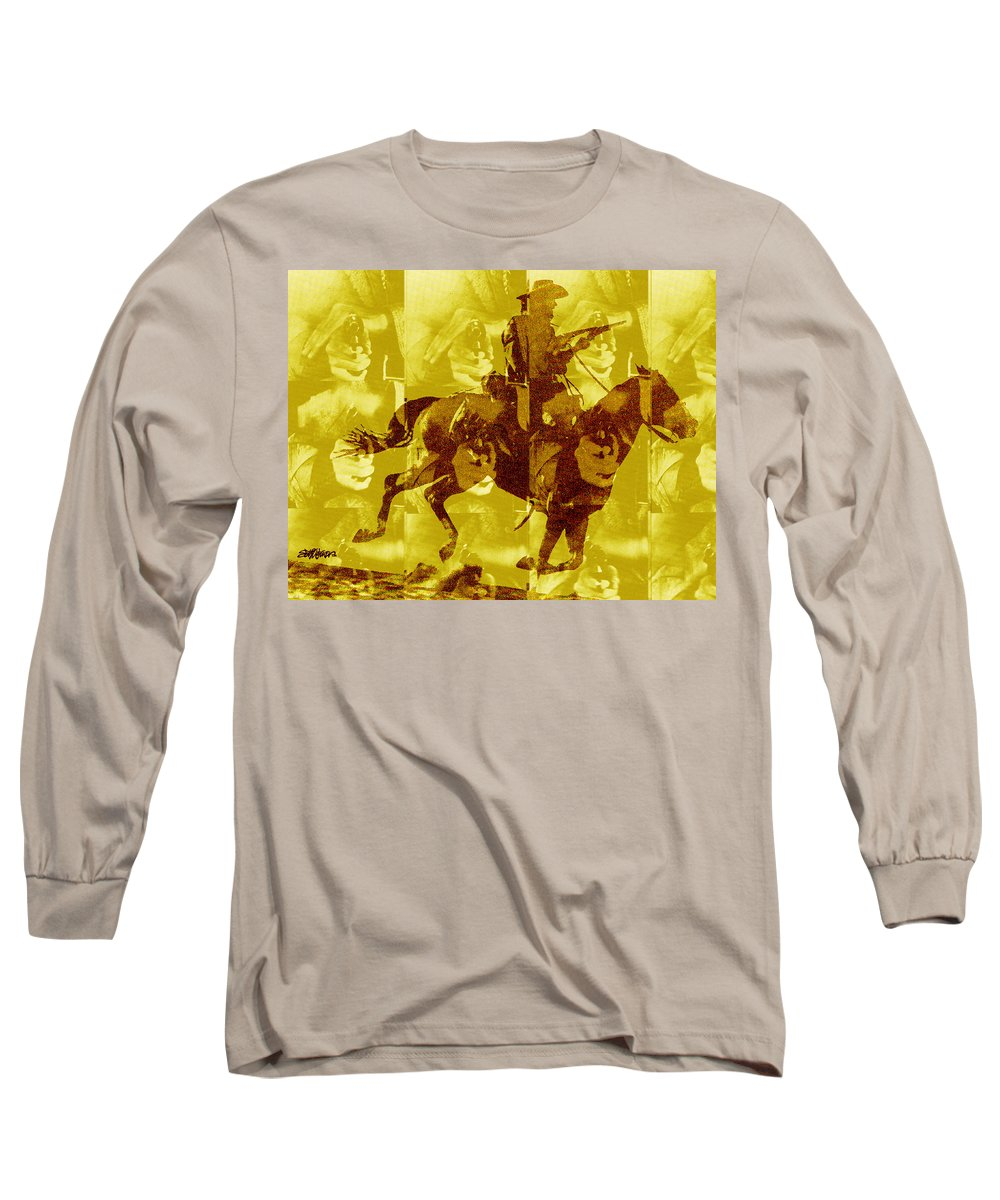 Clint Eastwood Long Sleeve T-Shirt featuring the digital art Duel In The Saddle 1 by Seth Weaver