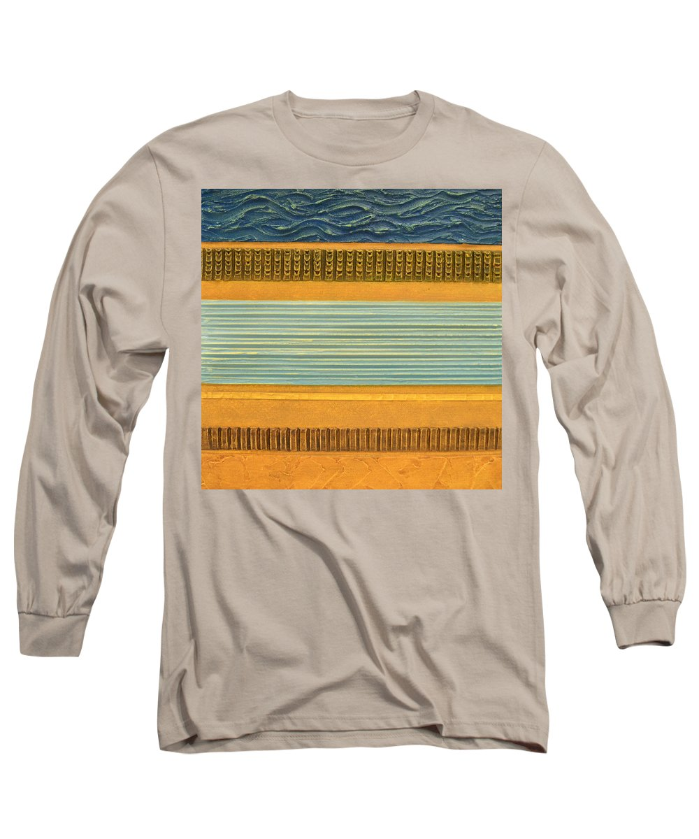 Abstract Long Sleeve T-Shirt featuring the painting Earth Layers Abstract Ll by Michelle Calkins