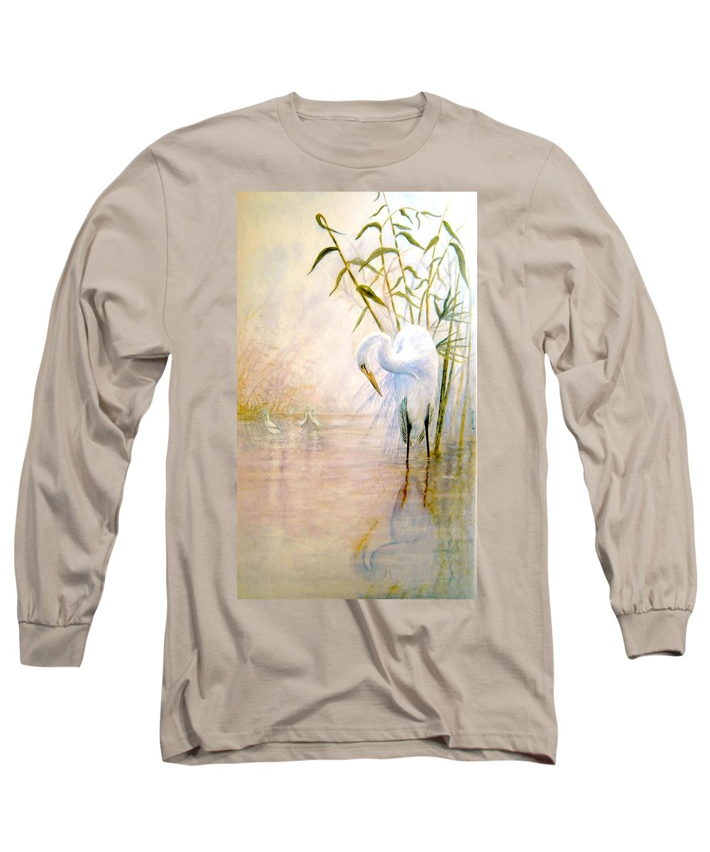 Eret; Bird; Low Country Long Sleeve T-Shirt featuring the painting Egret by Ben Kiger