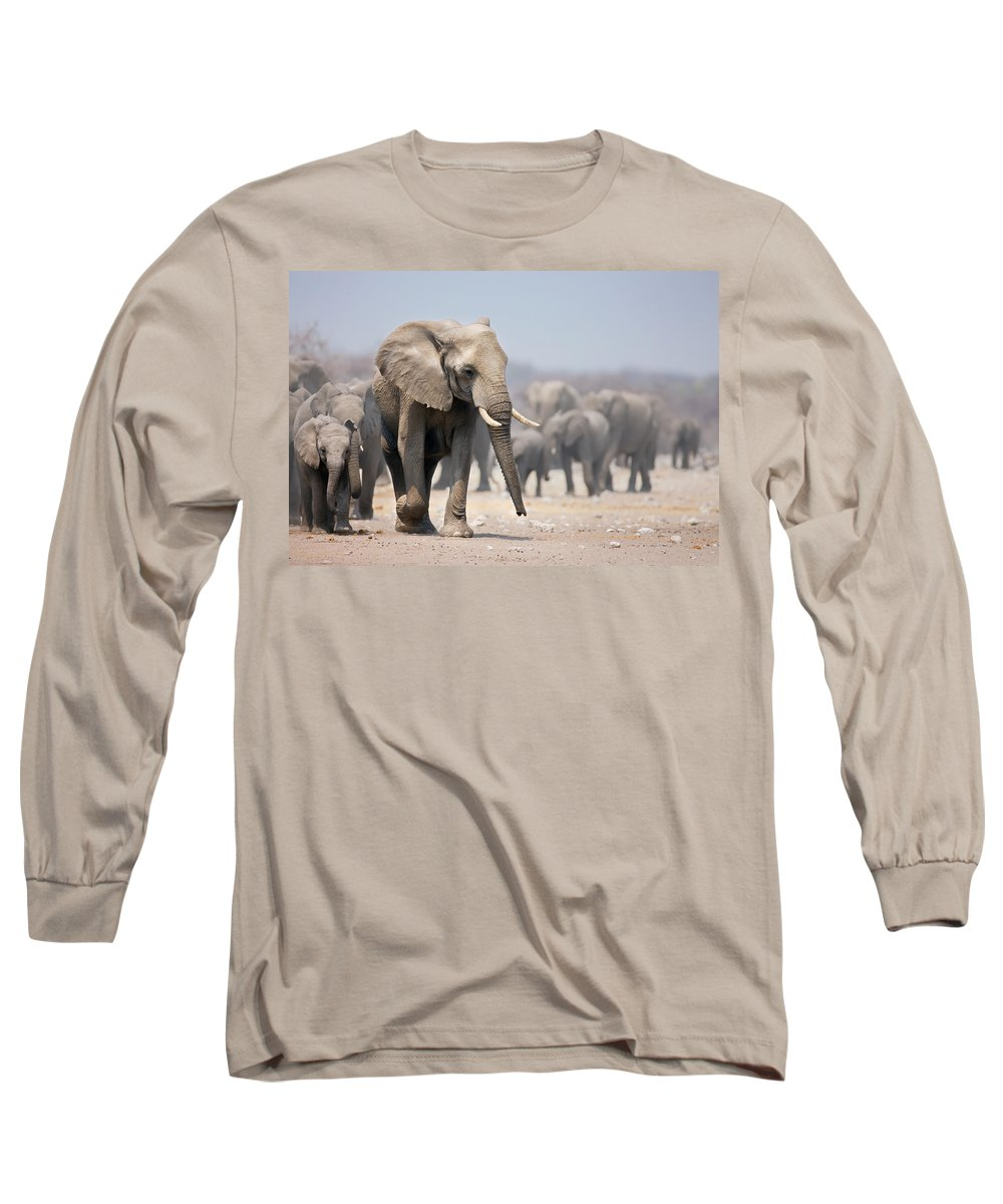 Front Walk Long Sleeve T-Shirt featuring the photograph Elephant Feet by Johan Swanepoel