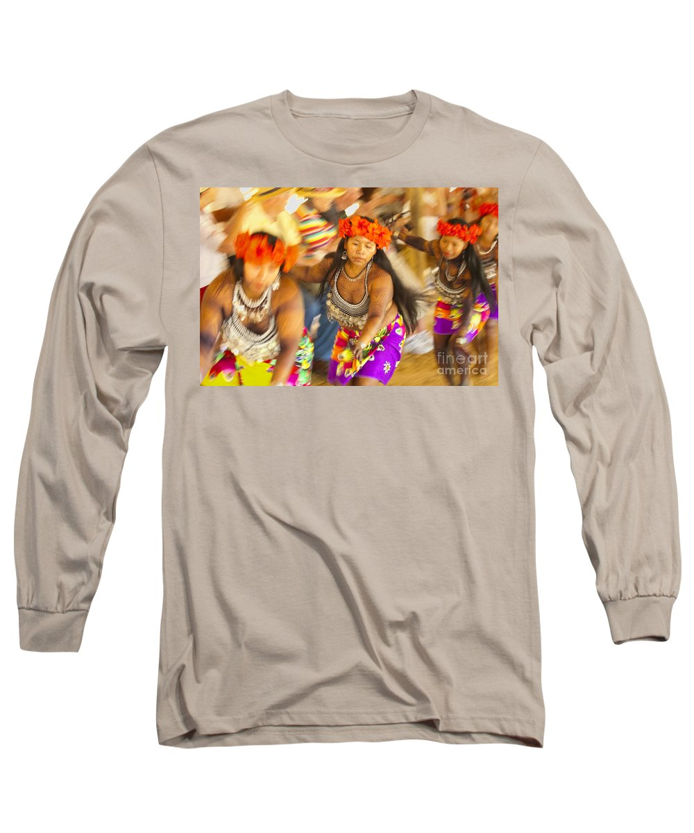 Embera Long Sleeve T-Shirt featuring the photograph Embera Villagers In Panama by David Smith