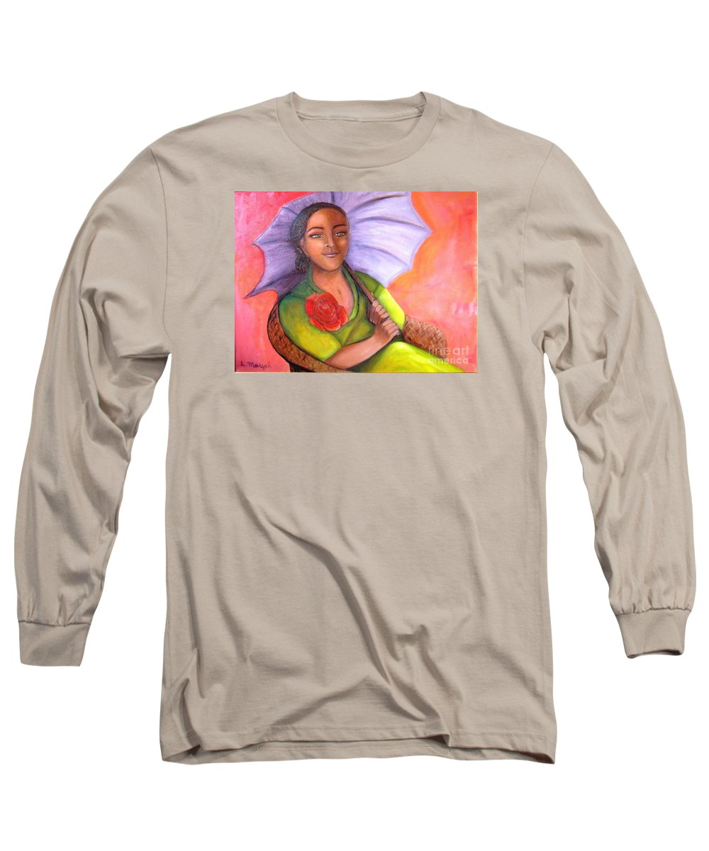 Rose Long Sleeve T-Shirt featuring the painting Enchanted Rose by Laurie Morgan