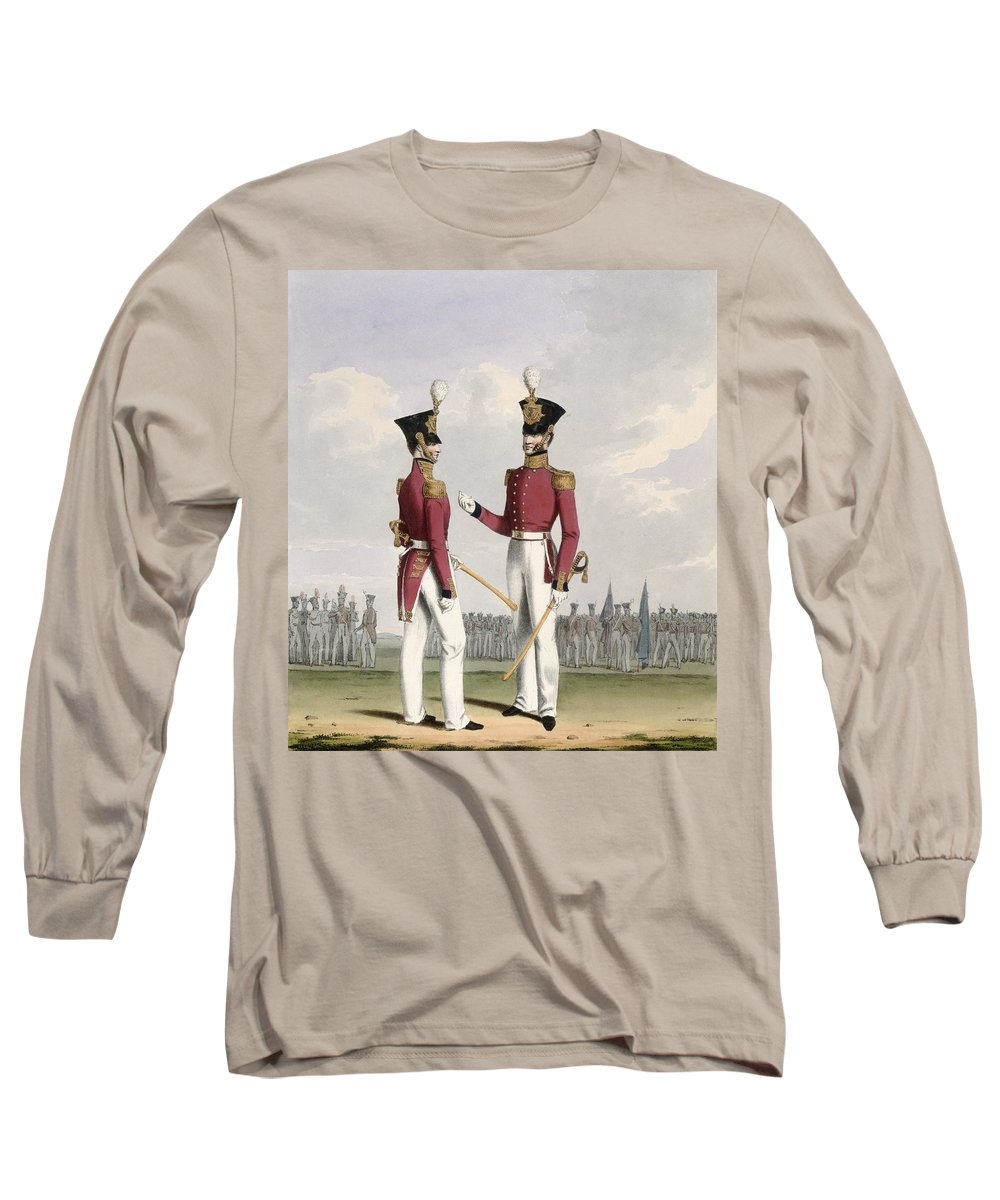 Soldiers Long Sleeve T-Shirt featuring the drawing Field Officers Of The Royal Marines by L. and Eschauzier, St. Mansion