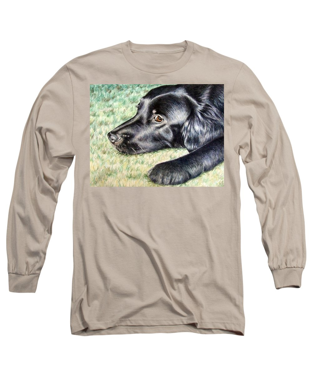Dog Long Sleeve T-Shirt featuring the painting Flat Coated Retriever by Nicole Zeug